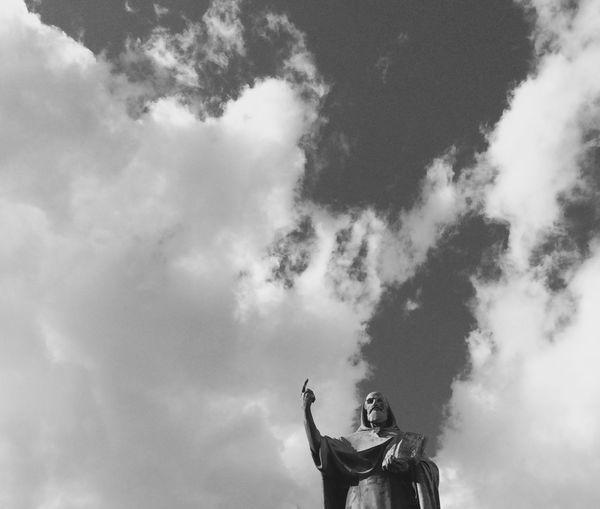 Glory Black And White Blackandwhite Cloud Cloud - Sky Cloudscape Dramatic Sky EyeEm Bnw Grottaferrata Light Looking Up Lookingup Sculpture Sky Symbol Glory Rome Roma Castelliromani  Bartholomew Founder Italy Greek Portrait B&W Portrait Skyporn