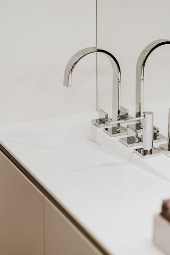 Bathroom Faucet Sink Domestic Bathroom Home Hygiene Indoors  Domestic Room Household Equipment Home Interior Metal Modern No People Bathroom Sink Neat Mirror Luxury Wash Bowl Tile White Color Purity Steel