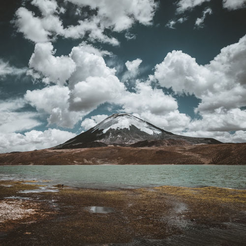 Beauty In Nature Cloud - Sky Day Lake Landscape Mountain Mountain Range Nature No People Outdoors Salt - Mineral Scenics Sky Snow Snowcapped Mountain Tranquil Scene Tranquility Water