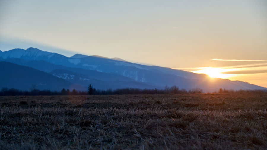 Sky Sunset Mountain Beauty In Nature Tranquility Scenics - Nature Tranquil Scene Environment Landscape Sun Mountain Range Field Nature Land Non-urban Scene No People Sunlight Orange Color Plant Idyllic Lens Flare Outdoors Fagaras Mountains Carpathians