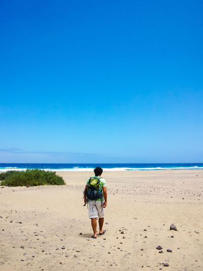 Rear view of backpack man walking at beach against clear sky