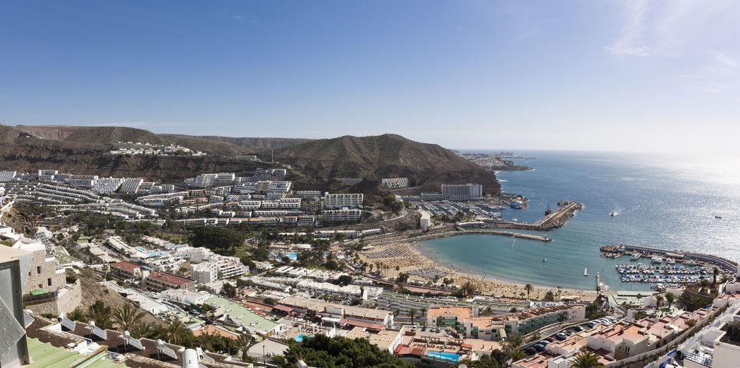 Panorama view of Puerto Rico Beach, Grand Canary (Gran Canaria) Island, Spain. Aerial View Beach Destination Gran Canaria Grand Canary Puerto Rico Sea SPAIN Travel Vacation
