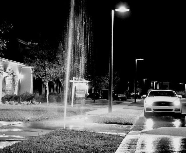 Chance Encounters Spraying Motion Car Fountain Splashing Night Outdoors Water No People Sky Blackandwhite Property Real Estate Florida Kris Slater photo 1 of 1 lesson 8 Eyeem School Of Photography