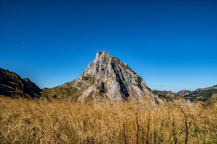 Köllenspitze Formation Mountain Peak Copy Space Grass Field Mountain Range Non-urban Scene Environment Day No People Plant Landscape Nature Land Clear Sky Beauty In Nature Tranquility Mountain Tranquil Scene Scenics - Nature Blue Sky Austria Tyrol Alps Outdoors Arid Climate