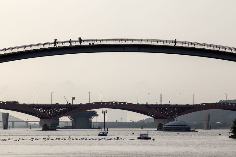Bridges over han river against sky