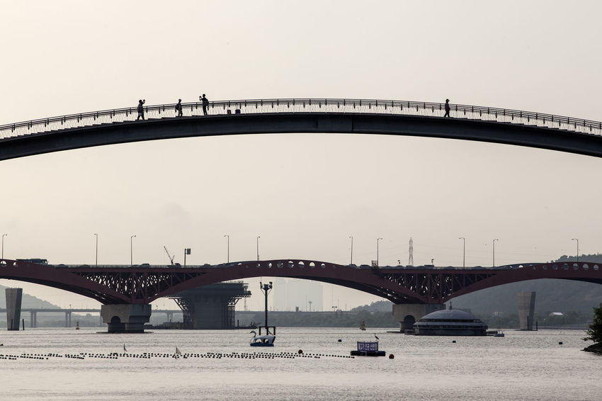 Arch Arch Bridge Architecture Bridge Bridge - Man Made Structure Built Structure Capital Cities  City City Life Connection Day Engineering Han River Hangang Nature No People Outdoors River Seongsandaegyo Seonyugyo Sky Suspension Bridge Tourism Travel Destinations Water