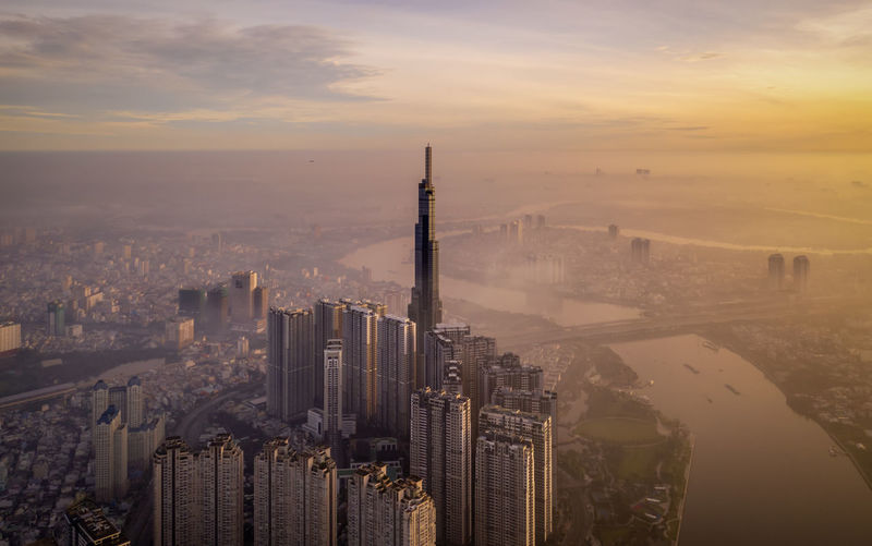 Aerial view of ho chi minh city during sunrise