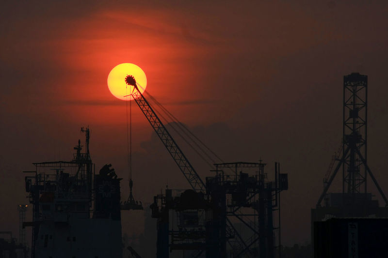 Container Container Port Crane Economy Harbour View Jakarta International Container Terminal Nature No People Outdoors Red Sky Sunrise Tanjung Priok Tanjung Priok Harbour