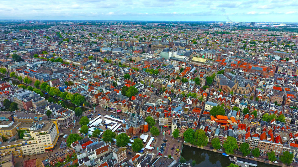Aerial Photography Aerial View Altitude Drone Amsterdam Architecture Buildings Canal Church City City Center Cityscape Drone Shot Europe Holland Horizon Over Land Houses Landscape Market Netherlands Panorama Red Light District Residential  Sky And Clouds Travel Destinations Trip