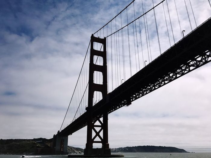 Silhouette Bridge - Man Made Structure Sky Suspension Bridge Connection Cloud - Sky Engineering Built Structure Transportation Low Angle View Travel Destinations Architecture Bridge No People Sea Travel San Francisco Cityscape Waterfront Urban Geometry USA Landmark