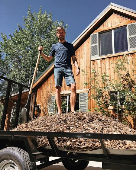 wood chip season in Timber Lakes. Gardening Utah Wasatch Mountains Real People Full Length One Person Architecture Leisure Activity Built Structure Casual Clothing