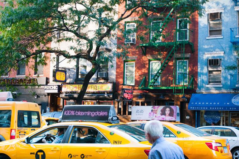 Blue Brown Building Cab Life Man New York New York City Newyork Old Buildings Old Man Street Street Photography Streetphotography Taxi Trees Urban Urban Lifestyle Yellow Yellowtaxi