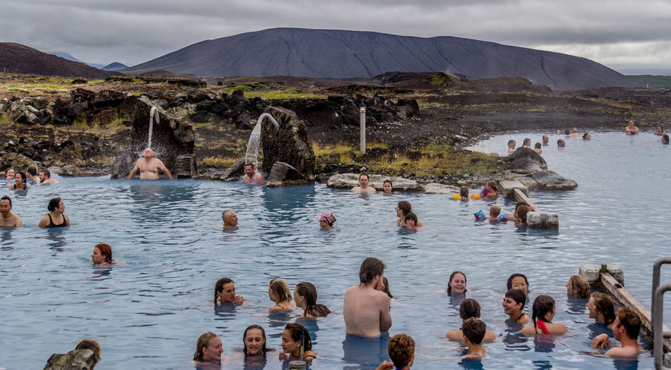Nature Bath Thermal Bath Iceland Myvatn Nature Baths Hot Spring Relaxing Water Mountain Men Group Of People Large Group Of People Crowd Real People Nature Day Women Scenics - Nature Lake Sky Outdoors Child Leisure Activity Beauty In Nature Cloud - Sky
