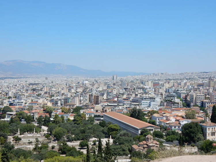 Cityscape City High Angle View Architecture Building Exterior No People Outdoors Day Sky Clear Sky Tree Landscape Athens City Griechenland Greece Athens Athens, Greece Athen City Greek Architecture Clear Sky Town Vacations Cityscape