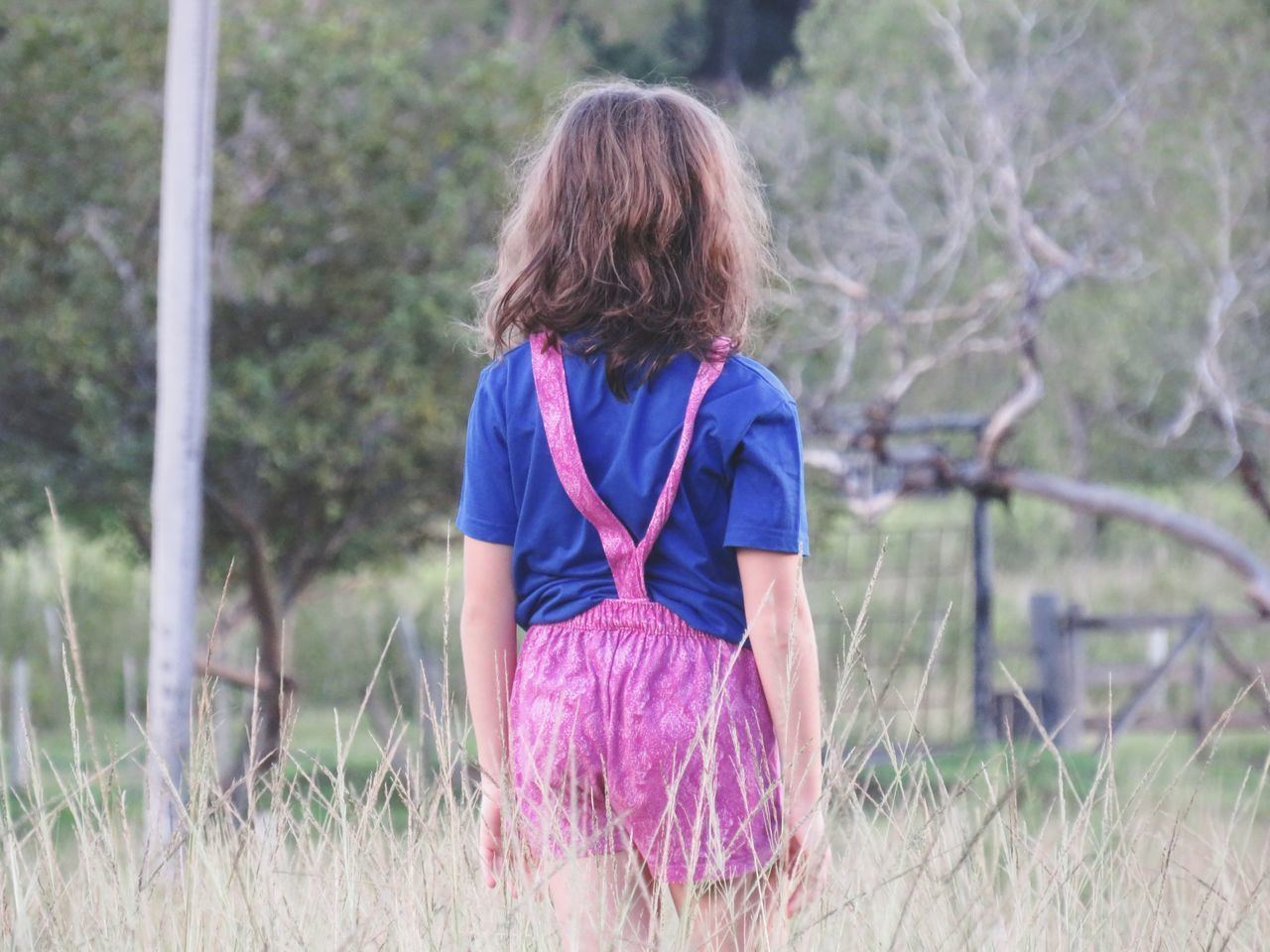 REAR VIEW OF GIRL LOOKING AT GRASS