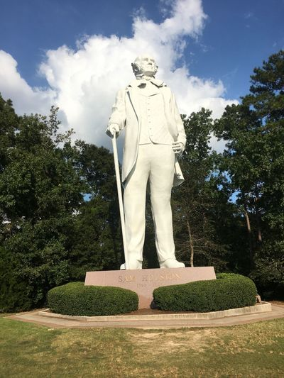Sam Houston Statue Statue Sculpture Human Representation Male Likeness Tree Art And Craft Memorial Sky No People Cloud - Sky Day Outdoors Sam Houston Monument