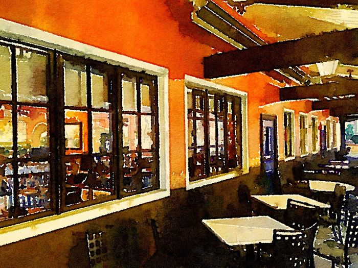 Before the crowds. Waterlogue Mexican Food Bethesda Streetphotography Just playing with the App