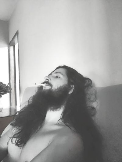 sad Cigarette  Long Hair Blackandwhite Sadness Beard Home Interior