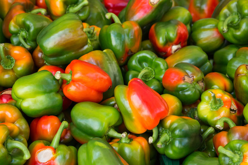 Full Frame Shot Of Bell Peppers At Market For Sale