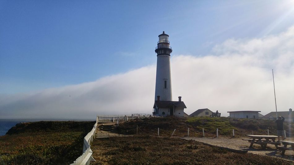 Pigeon point, Ca Light House And Blue Sky Light House Fog Rolling In Fog_collection Fog Over Water Check This Out Non-urban Scene