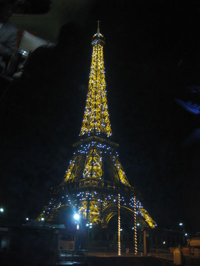 Low angle view of eiffel tower at night