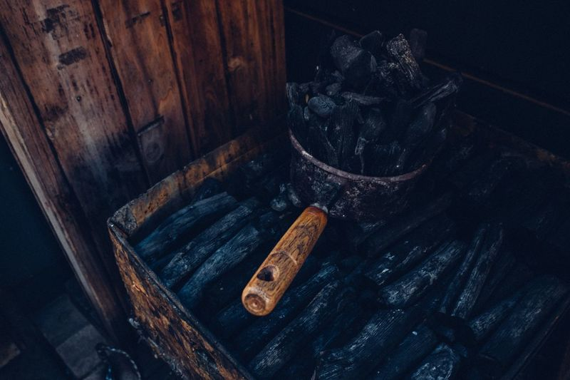 Charcoal Wood - Material Wood Charcoal Fire Back To Basics  Simple Vintage Vintage Style Japanese Style Japan Photography Japan Charcoal Indoors  High Angle View Wood - Material No People Old Still Life Table Black Color Textured
