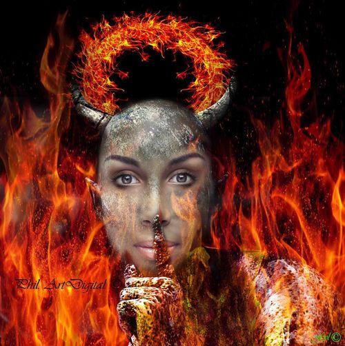 Devil Photoshop Artdigital Fantasy Women Fire Hell My Artwork Surrealist Art Futuristic Cyberspace Portrait Black Background Beauty Beautiful Woman Galaxy Looking At Camera Pixelated Headshot