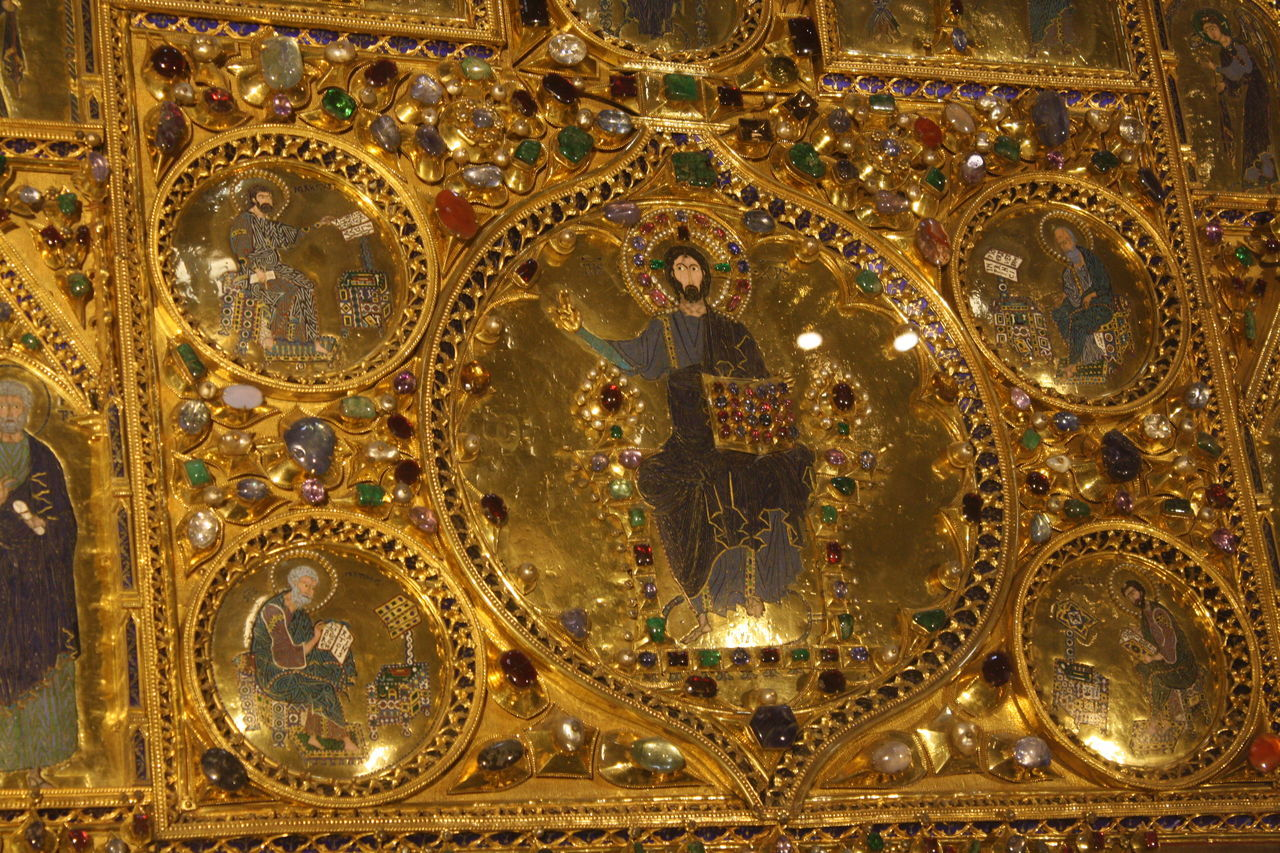 gold colored, human representation, indoors, gold, no people, close-up, day