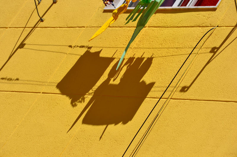 Low angle view of yellow shadow