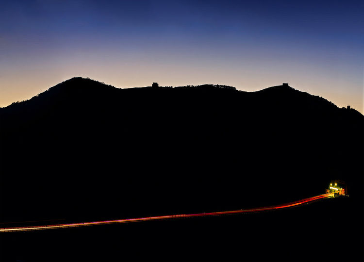 Great Wall and Expressway Architecture Beijing Beijing China Beijing Trip Beijing Scenes China Beauty China View China Photos Great Wall Great Wall Of China Road Beauty In Nature China Dusk Great Wall Of China Tower Illuminated Landscape Mountain Nature Night No People Outdoors Scenics Silhouette Sunset