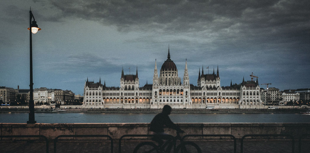 Budapest at night, view of the parliament house.