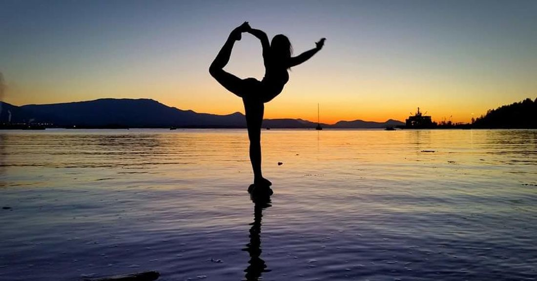 Live For The Story Silhouette Sunset Healthy Lifestyle Exercising Balance Zen-like Spirituality Scenics Water Tranquil Scene Beach Lifestyles Beauty In Nature Nature One Person Outdoors Landscape Religion Adult Flexibility