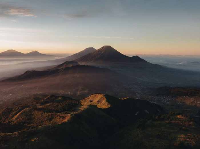 Scenic view of mt sumbing and mt sindoro from mt prau in central java, indonesia