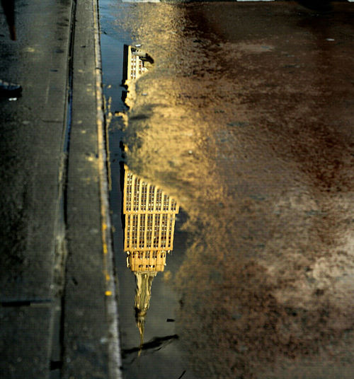 Street Puddle Reflection Illuminated Architecture Sky Water Cloud No PeopleIconic Buildings Empire State Building Tall NYC Photography NYC Street Photography Buildings & Sky Newyorkcity