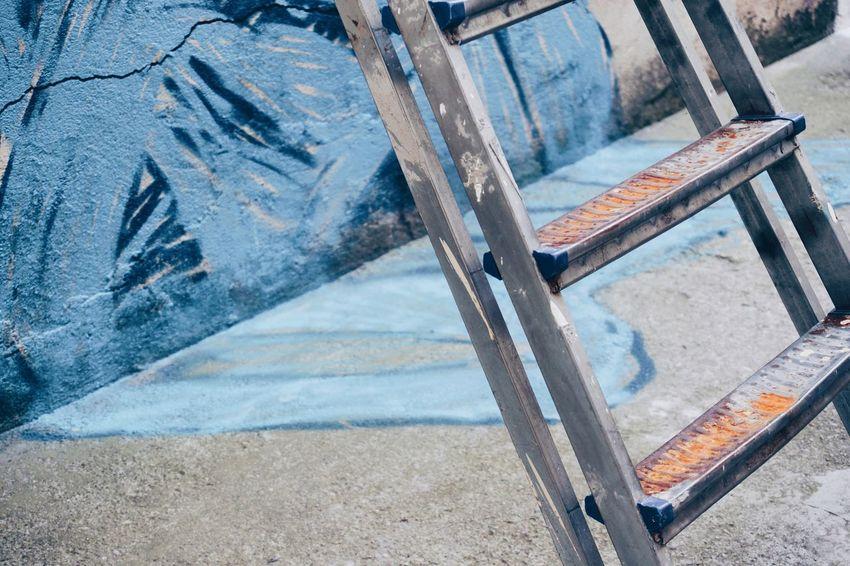 Graffiti Ladder Blue Paint Painted Close-up Step Ladder Street Art Mural Spray Paint