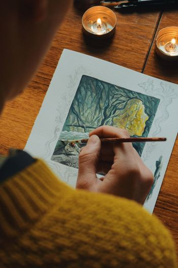 woman artist painting a picture of a fantasy cave with watercolor, model and property released Paint Art Artist ArtWork Brush Creative Creativity Drawing Fairytale  Fantasy Female Hand Handmade Illustration Illustrator Indoors  Ink Painter Painting Picture Precision Vibrant Color Woman