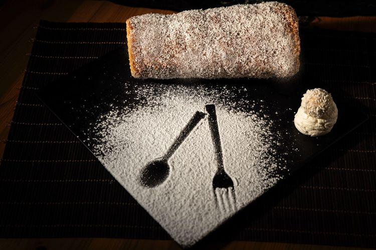 Dark mood food Photography Still Life Indoors  High Angle View Food And Drink Table Food No People Close-up Powdered Sugar Baked Freshness Sweet Food Sugar Shape Design Celebration Ready-to-eat Flour