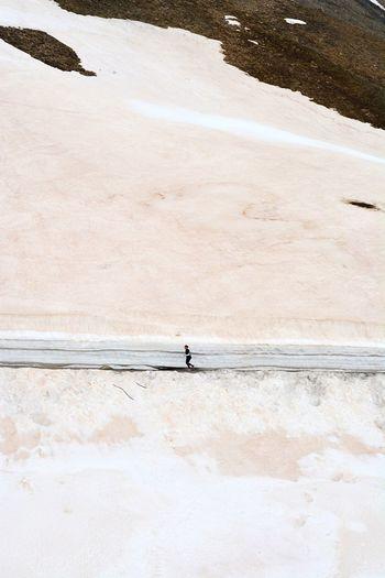 Person running on mountain