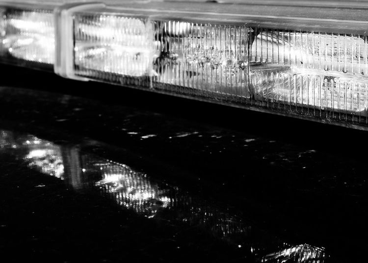 Police car lights Outdoors No People Close-up Day On Top Of Car Black And White Row Of Lights Not On On Patrol Sunday Afternoon