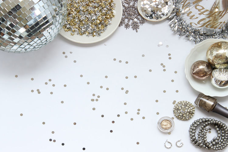 High angle view of new year decorations against white background