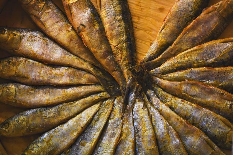 High angle view of smoked sardines