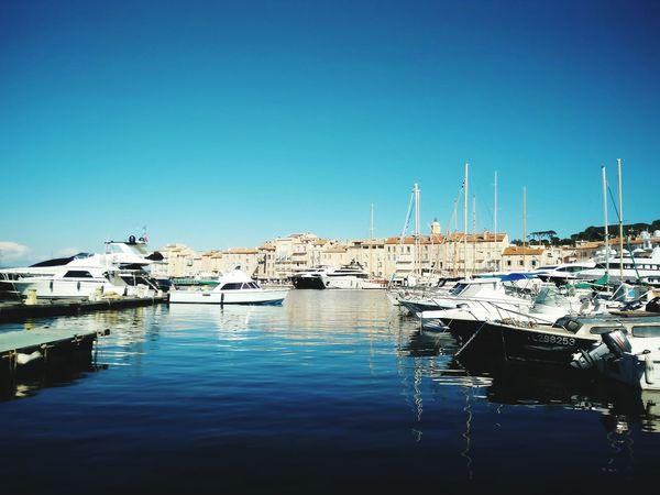 Port De Saint Tropez Water Harbor Sea Sailboat Outdoors Day
