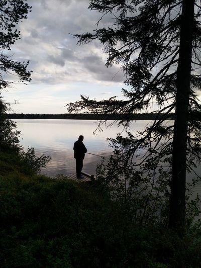 Water Tree Full Length Standing Lake Silhouette Fishing Reflection Sky Fishing Rod Fishing Equipment Calm Tranquil Scene Lakeside