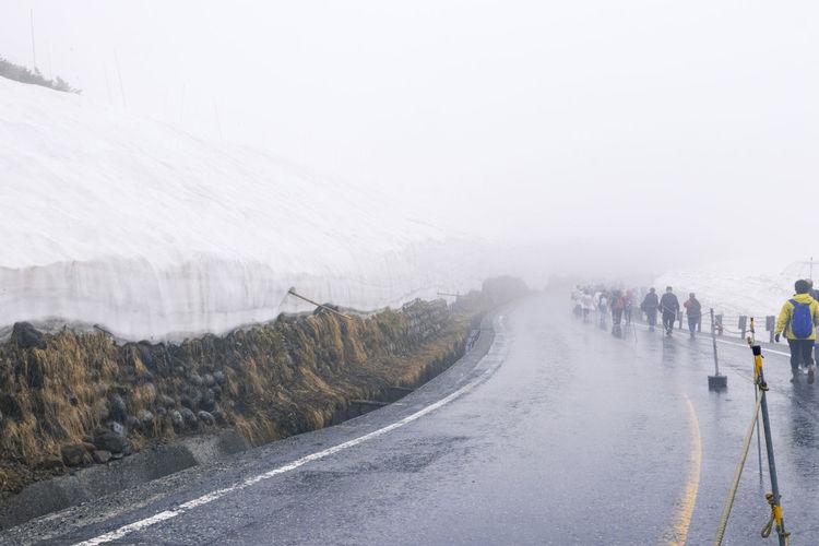 Foggy snow mountains