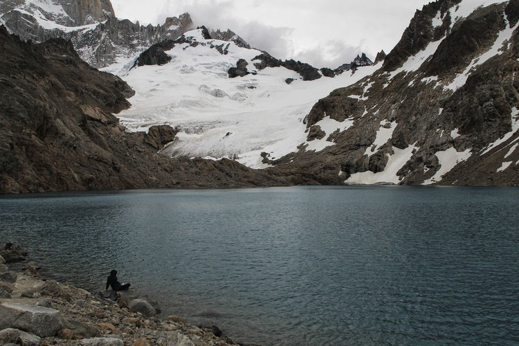 Laguna De Los Tres Water Mountain Beauty In Nature Scenics - Nature Mountain Range Tranquility Tranquil Scene Nature Non-urban Scene Sky Rock Lake Day Cloud - Sky Rock - Object Snow Solid Cold Temperature Snowcapped Mountain Formation