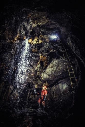 Cave Velke Prepadle, Borinka Karst Adventure Canon Cave Caver Climbing Darkness Discovering Discovery Explore Flash Geology Karst Meander Nature Rocks Rough Sinter Speleo Speleology Stalagmites Stone Travel Underground Water Waterfall