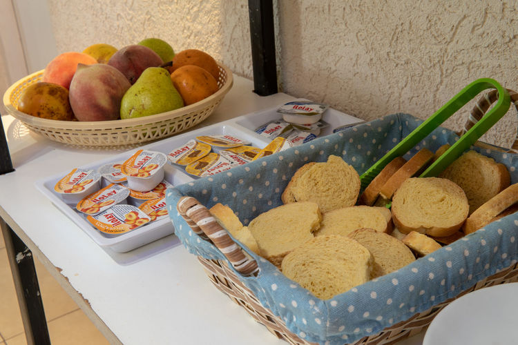 High angle view of breakfast in basket on table