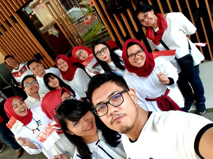 Merahputih Bendera Indonesia IdependenceDay INDONESIA Latedposted Eyeglasses  Portrait Young Women Togetherness Friendship Human Hand Looking At Camera Teamwork High Angle View Men