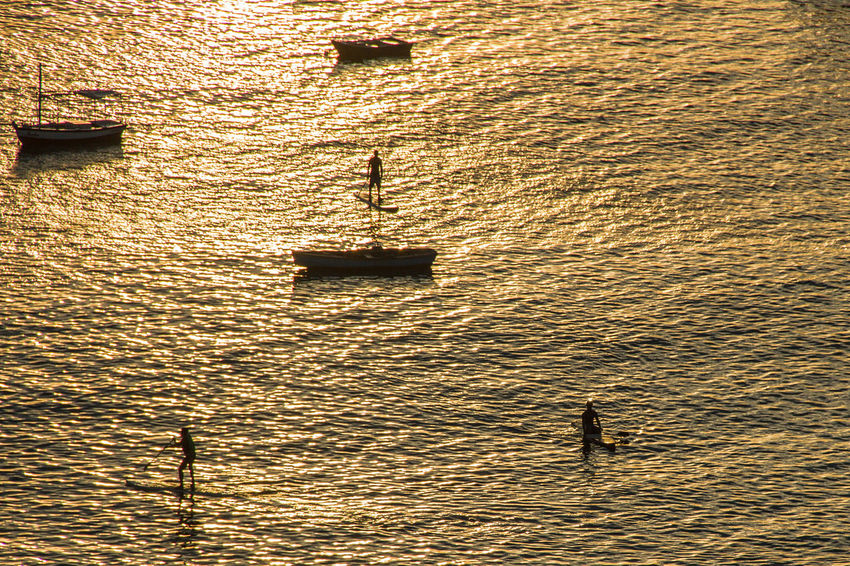 Golden Sunset!! #Goldensunset Beauty In Nature Day Mode Of Transport Nature Nautical Vessel Outdoors Real People Rippled Sea Silhouette Sunset Transportation Water Waterfront