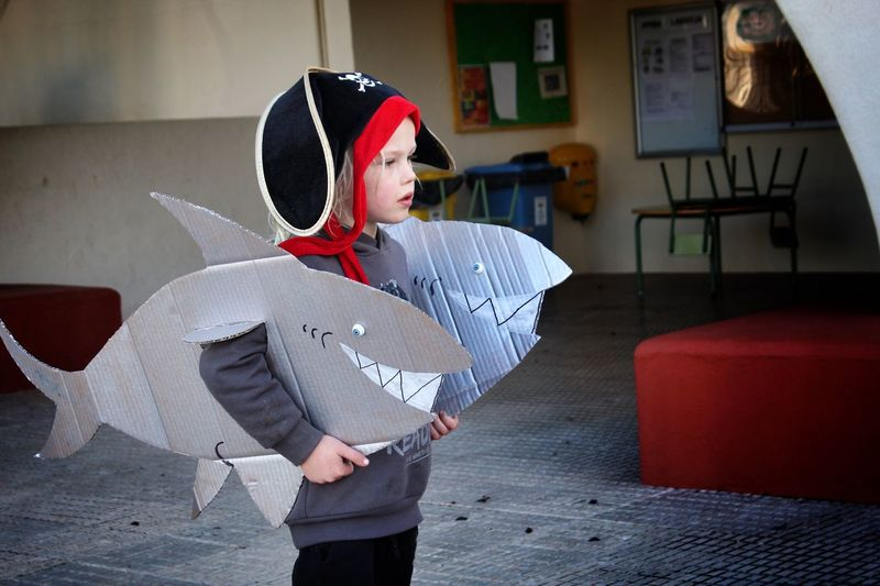 Cute Boy Wearing Shark Costume